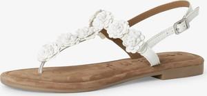 Sandały Tamaris z płaską podeszwą ze skóry w stylu casual