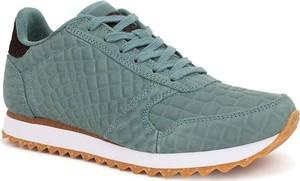 Zielone buty sportowe Woden z płaską podeszwą sznurowane ze skóry
