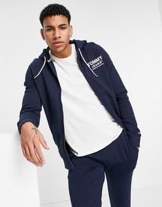 Granatowa bluza Tommy Jeans z nadrukiem z bawełny