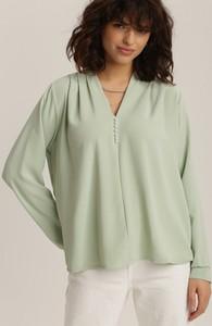 Miętowa bluzka Renee w stylu casual z dekoltem w kształcie litery v
