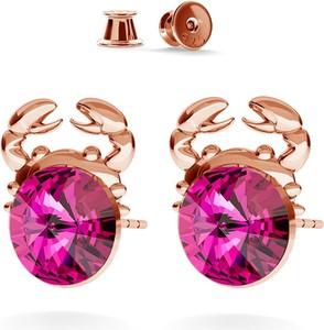GIORRE SREBRNE KOLCZYKI KRAB SWAROVSKI RIVOLI 925 : Kolor kryształu SWAROVSKI - Fuchsia, Kolor pokrycia srebra - Pokrycie Różowym 18K Złotem