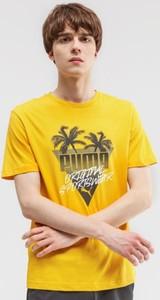 Żółty t-shirt Puma w młodzieżowym stylu
