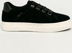 Czarne buty sportowe Gant sznurowane z zamszu