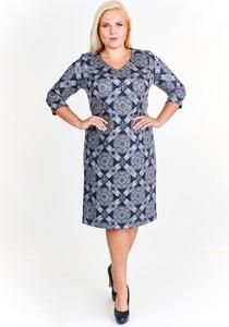Sukienka Fokus z długim rękawem z dekoltem w kształcie litery v z dzianiny