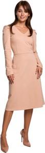 Sukienka Be z dzianiny z dekoltem w kształcie litery v z długim rękawem