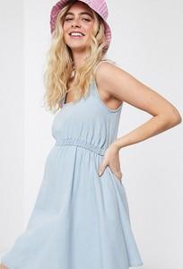 ASOS DESIGN Maternity – Jasnoniebieska sukienka z miękkiego denimu z dekoltem w kształcie litery U-Niebieski