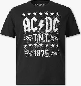 Czarny t-shirt C&A z krótkim rękawem z bawełny