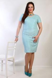Niebieska sukienka Oscar Fashion dla puszystych z krótkim rękawem
