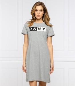 Sukienka DKNY z krótkim rękawem mini z okrągłym dekoltem