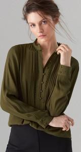 Zielona bluzka Mohito w stylu retro z długim rękawem z żabotem