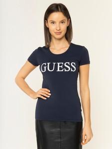 Granatowy t-shirt Guess z okrągłym dekoltem w młodzieżowym stylu