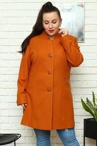 Pomarańczowy płaszcz KARKO w stylu casual