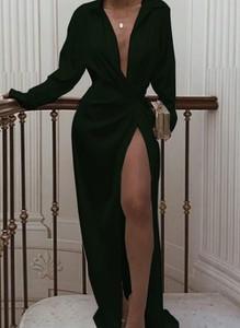 Zielona sukienka Cikelly maxi z długim rękawem