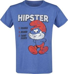 Niebieski t-shirt Emp z krótkim rękawem z bawełny z nadrukiem
