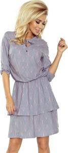 Sukienka NUMOCO z długim rękawem mini z żabotem