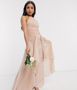 Różowa sukienka Asos bez rękawów maxi gorsetowa