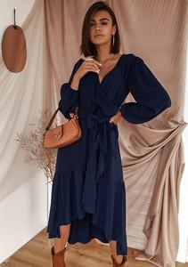 Sukienka Latika z długim rękawem z dekoltem w kształcie litery v wyszczuplająca