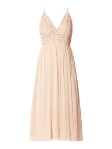 Różowa sukienka Lace & Beads maxi na ramiączkach