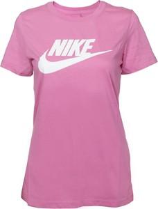 Różowa bluzka Nike z krótkim rękawem z bawełny w sportowym stylu