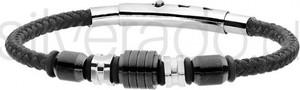 Silverado efektowna męska bransoleta z bawełnianego sznurka w kolorze czarnym - 77-ba594b
