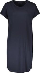 Czarna sukienka Marc O'Polo z okrągłym dekoltem prosta z krótkim rękawem