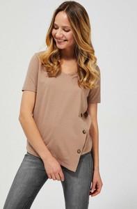 Brązowa bluzka Moodo z okrągłym dekoltem z bawełny z krótkim rękawem