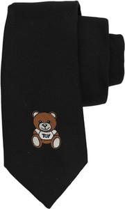 Czarny krawat Moschino z jedwabiu