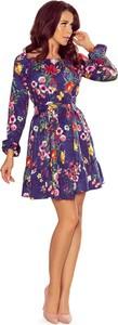Sukienka NUMOCO z długim rękawem z okrągłym dekoltem mini