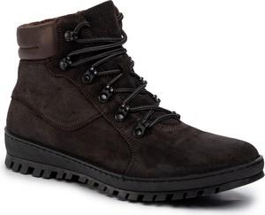 Brązowe buty zimowe Gino Rossi sznurowane