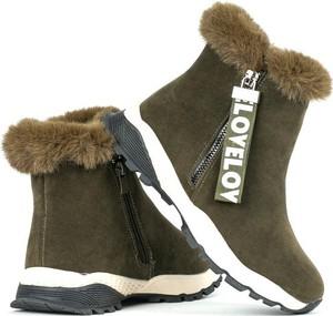 Zielone buty dziecięce zimowe Royalfashion.pl na zamek