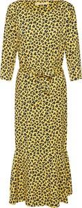 Żółta sukienka Aaiko w stylu casual oversize z tkaniny