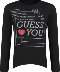 Czarna bluzka dziecięca Guess z długim rękawem