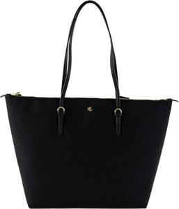 Czarna torebka Ralph Lauren z tkaniny duża w wakacyjnym stylu
