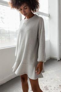 Sukienka Marsala oversize z bawełny z długim rękawem