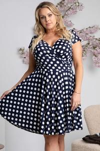 Sukienka KARKO z tkaniny z krótkim rękawem z dekoltem w kształcie litery v