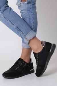 Czarne buty sportowe Casu z płaską podeszwą sznurowane