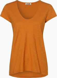 Pomarańczowy t-shirt Drykorn z krótkim rękawem w stylu casual z okrągłym dekoltem