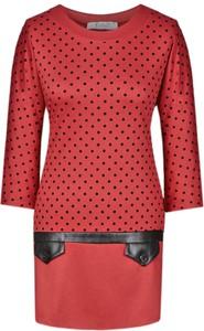Czerwona tunika Fokus w stylu casual dopasowana z dzianiny