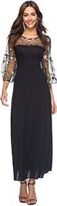 Granatowa sukienka Baronhong maxi z długim rękawem