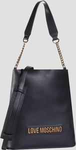 Czarna torebka Love Moschino w stylu glamour ze skóry na ramię