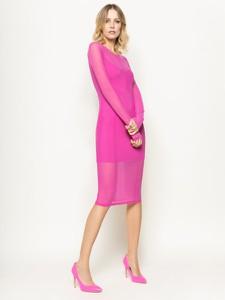 Różowa sukienka Patrizia Pepe z okrągłym dekoltem midi