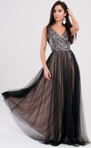 Sukienka Butik Ecru bez rękawów maxi z dekoltem w kształcie litery v