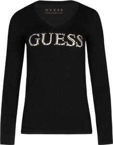 Bluzka Guess z długim rękawem z okrągłym dekoltem