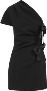 Czarna sukienka SAINT LAURENT z krótkim rękawem z satyny