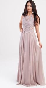 Sukienka Butik Ecru z okrągłym dekoltem maxi bez rękawów