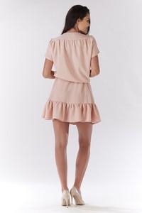 Różowa sukienka Awama rozkloszowana z krótkim rękawem mini
