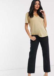 ASOS DESIGN Maternity – Czarna jeansy z prostymi nogawkami, średnim stanem i opaską na brzuch-Czarny