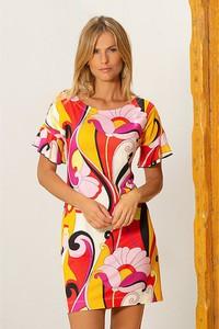 Sukienka BLEU D'AZUR w stylu casual z okrągłym dekoltem mini