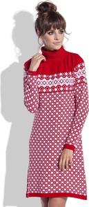 Czerwona sukienka FLORENCE z długim rękawem w stylu skandynawskim w stylu casual