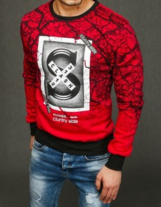 Czerwona bluza Dstreet z nadrukiem z bawełny